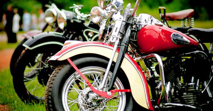 Row of Harley-Davidsons