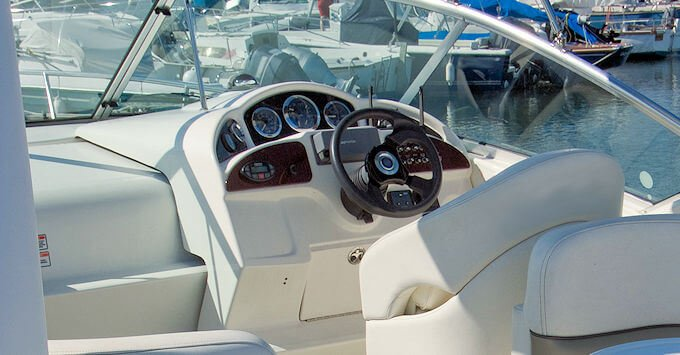Captain's chair on a speedboat