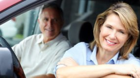 Mature couple in a van