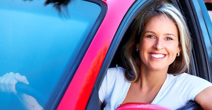 lady in a red van