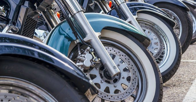Row of Harley-Davidsons